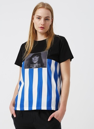 Quzu Quzu 19Y18472 Siyah Kadın Dijital Baskılı T-Shirt Siyah